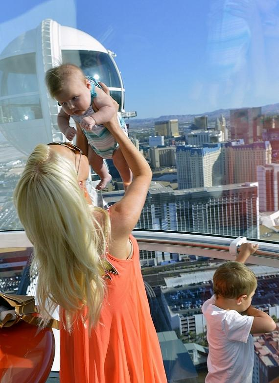 Paige Getzlaf and sons inside the High Roller at The LINQ in Las Vegas