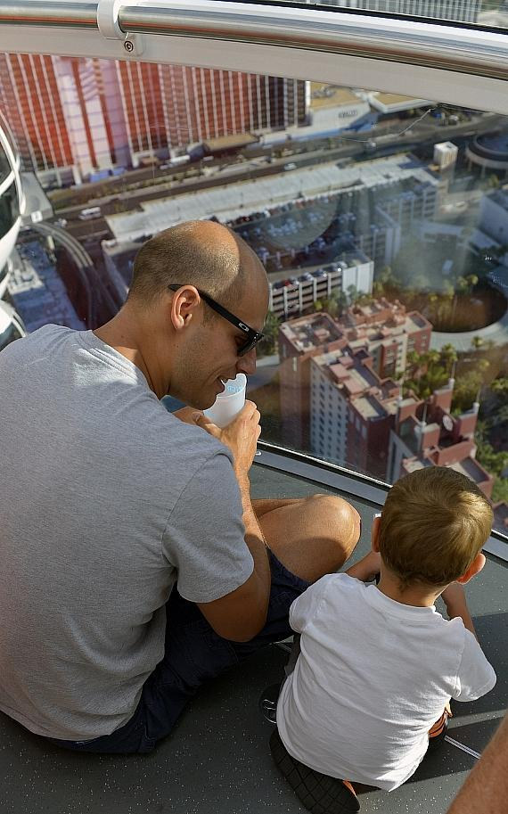 Ryan Getzlaf and son inside the High Roller at The LINQ