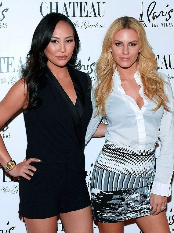 Television personalities Dorothy Wang (L) and Morgan Stewart arrive at Chateau Nightclub & Rooftop at the Paris Las Vegas on March 28, 2015 in Las Vegas