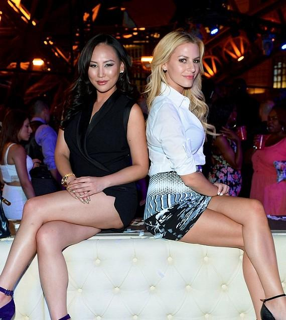Television personalities Dorothy Wang (L) and Morgan Stewart host a spring break bash at Chateau Nightclub & Rooftop at the Paris Las Vegas on March 28, 2015 in Las Vegas