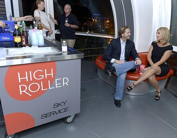 John Pankauski with Vicki inside The High Roller. Also pictured is the Sky Service cart that provides cocktails to riders.