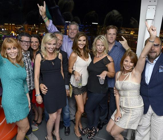 A guest and Dr. Jonathan Nassos and television personalies Jenni Pulos Nassos, Shannon Beador, David Beador and Peter Dobias, comedian Heather McDonald, Tatiana Nell, Scott Nell and television personalities Jill Zarin and Bobby Zarin ride the world's tallest observation wheel, The High Roller