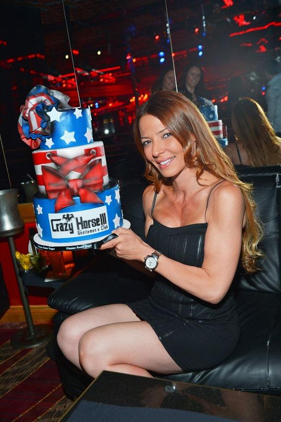 Drita poses with her Memorial Day cake at Crazy Horse III