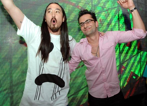 DJ Steve Aoki and Poker Pro Antonio Esfindiari at Surrender Nightclub