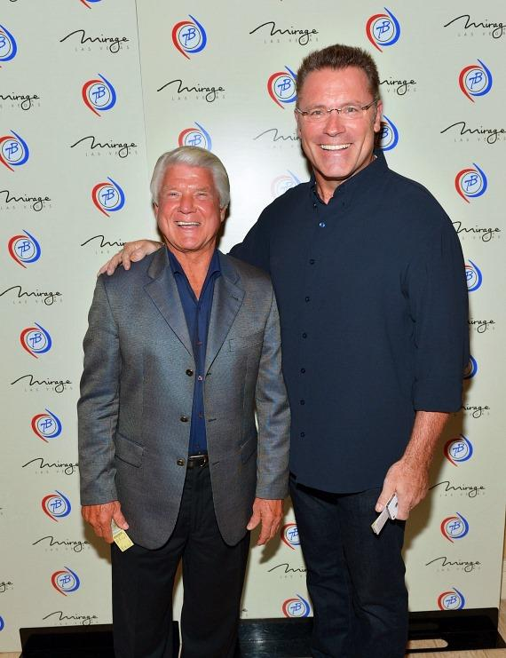 Television personality and former National Football League head coach Jimmy Johnson (L) and television personality and former National Football League player Howie Long arrive at the 'Terry Bradshaw: America's Favorite Dumb Blonde... A Life in Four Quarters' show premier at The Mirage Hotel & Casino