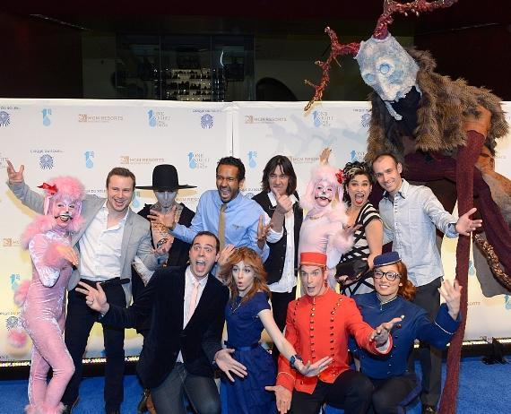 Cirque du Soleil performers and One Night for One Drop creator and director Mukhtar O.S. Mukhtar (BRCL) and artistic development director Loppo Martinez (BRCR) and violinist Lindsey Stirling FRC)