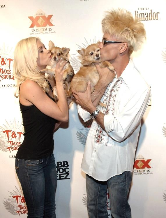 FANTAST dancer Chloe Crawford and husband Comedy Magician and Tropicana headliner Murray SawChuck with their puppies Ella and Kahlua