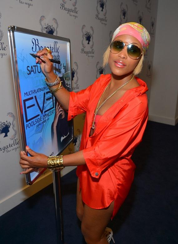 Eve sings her poster at Las Vegas' Bagatelle Beach