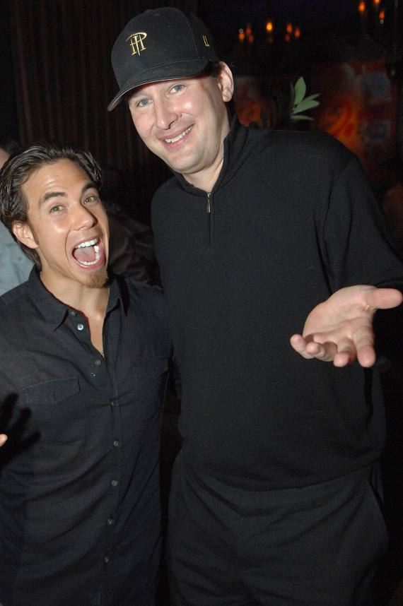 Apolo Ohno with poker star Phil Helmuth celebrates his 29th birthday at Blush Boutique Nightclub