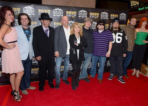 Dancer/showgirl Sydney Kounkel, puppeteer Enoch Scott, Richard 'The Old Man' Harrison, Rick Harrison, actress/singer Pia Zadora, and actors Gus Langley, Garret Grant and Austin 'Chumlee' Russell, Corey 'Big Hoss' Harrison and dancer/showgirl Kady Heard arrive at the opening of 'Pawn Shop Live!,' a parody of History's 'Pawn Stars' television series, at the Golden Nugget Hotel & Casino