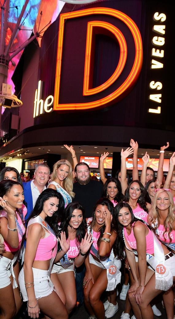 Television personality Corey Harrison and The D Las Vegas Owner Derek Stevens and the TropicBeauty 2014 contestants attend the Tropic Beauty meet-and greet sponsored by Rain Cosmetics at The D Las Vegas