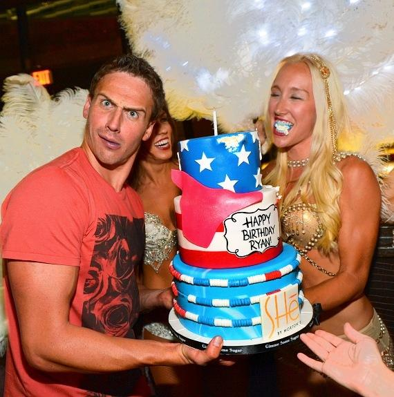 Lochte with birthday cake and SHe dancers