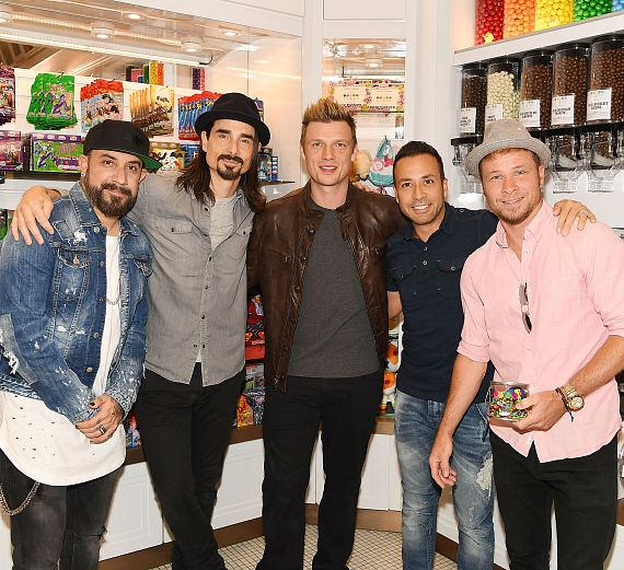 Backstreet Boys stop in Sugar Factory confectionary shop