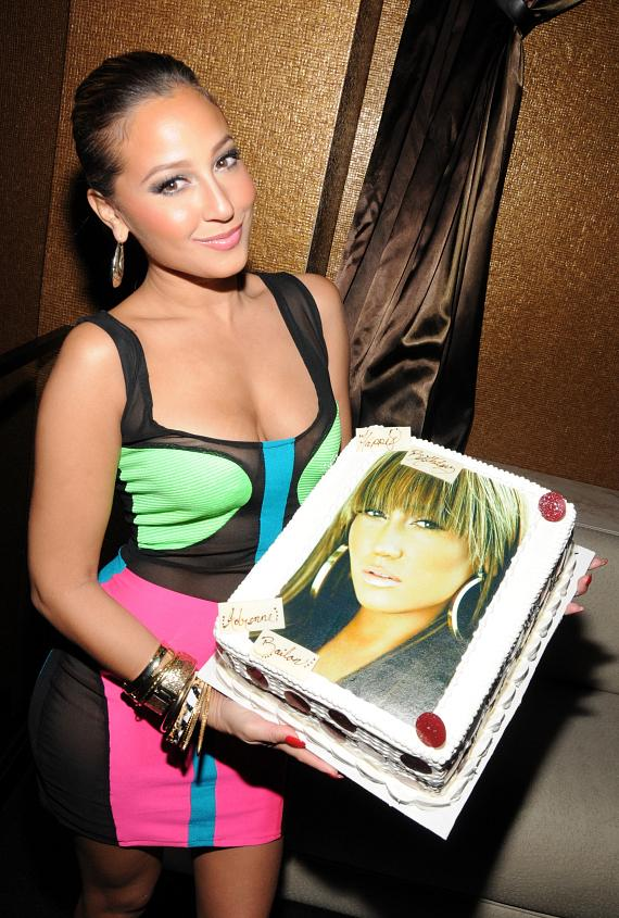 Adrienne Bailon with birthday cake at Vanity Nightclub