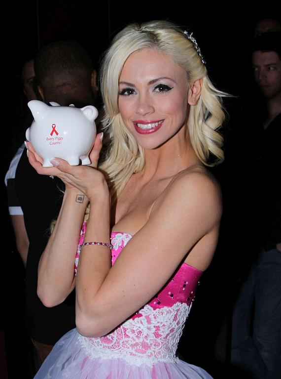 Chloe Crawford with AFAN piggy bank at her birthday celebration
