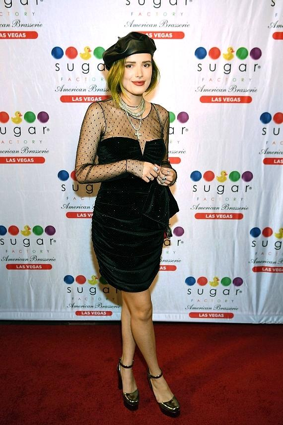 Bella Thorne poses for pictures on the red carpet for Sugar Factory American Brasserie in Las Vegas