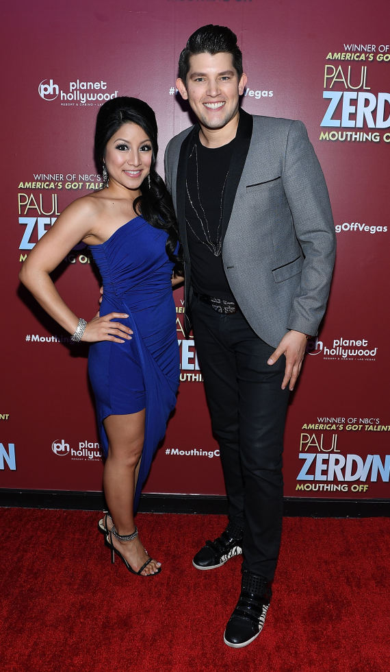 Ben Stone and Jasmine Trias at Opening Night of PAUL ZERDIN MOUTHING OFF at Planet Hollywood Resort & Casino