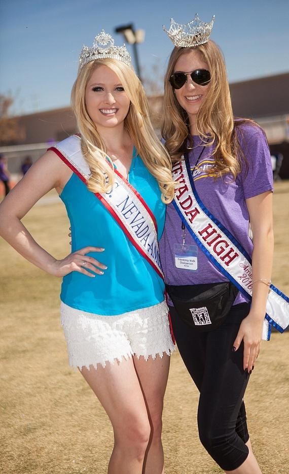 Mrs. Nevada-America, Lauren Cahlan with Miss Nevada High School America, Kenzie Sullivan