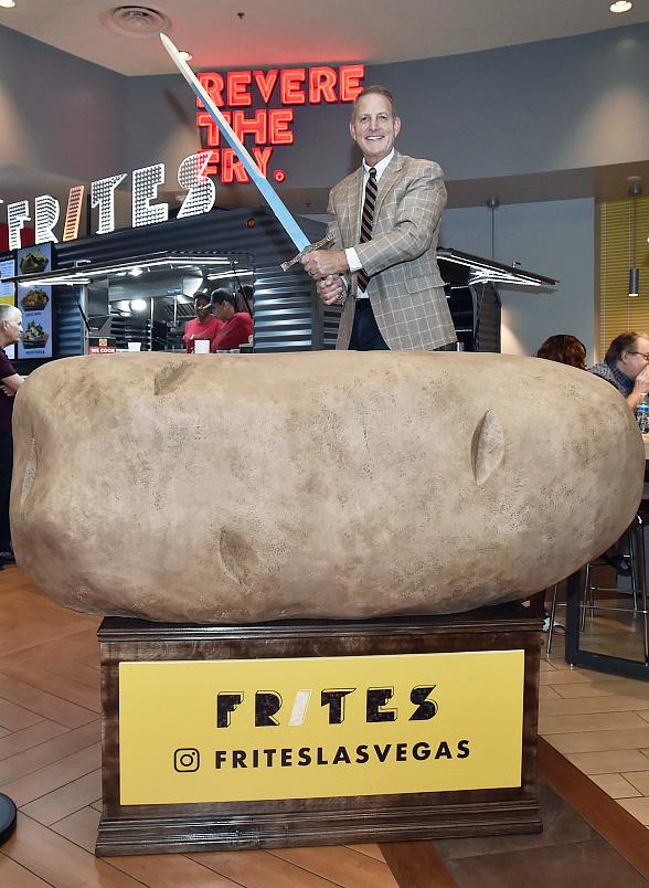 Frites Las Vegas Opens with a Sword Being Pulled out of a Large Potato...and a Ribbon Cutting and Proclamation, Too