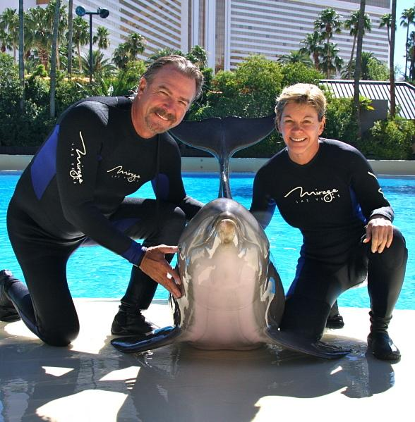 Bill & Gail Engvall with Maverick at Siegfried & Roy's Secret Garden and Dolphin Habitat