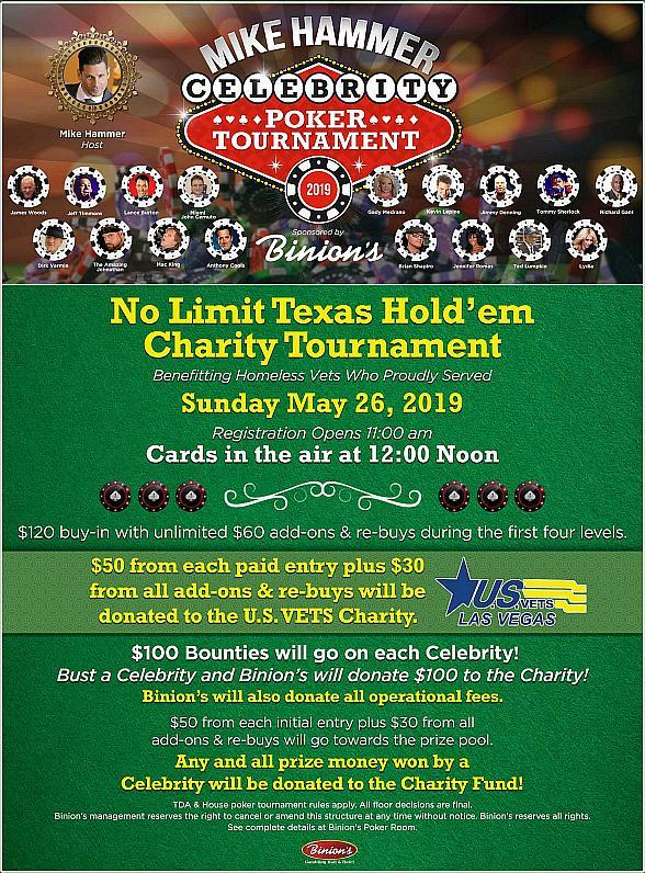 """Actor Richard Gant to Compete in Mike Hammer's """"Celebrity Charity Poker Tournament"""" at Binion's Gambling Hall May 26, 2019"""