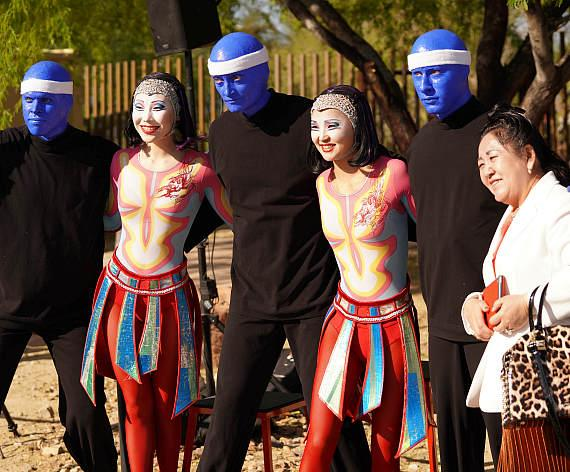 Blue Man Group and Cirque du Soleil performers at the 17th annual Run Away with Cirque du Soleil