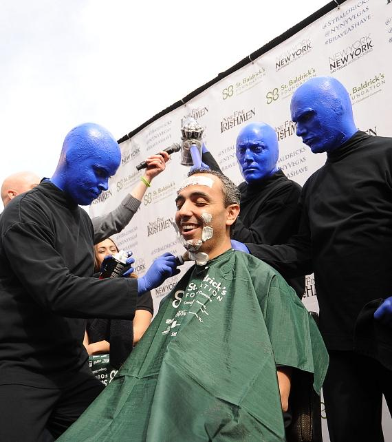 Blue Man Group shaves Monte Carlo Resort & Casino's Vice President of Hotel Operations Shadi Omeish-570