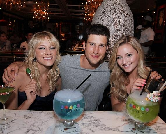 Parker Young enjoying Sugar Factory's signature cocktails with Brit Morgan and girlfriend, Stephanie Weber at Sugar Factory at Paris Las Vegas