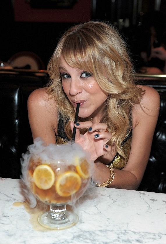 Brit Morgan samples the Sunshine Tea goblet cocktail at Sugar Factory American Brasserie at Paris Las Vegas