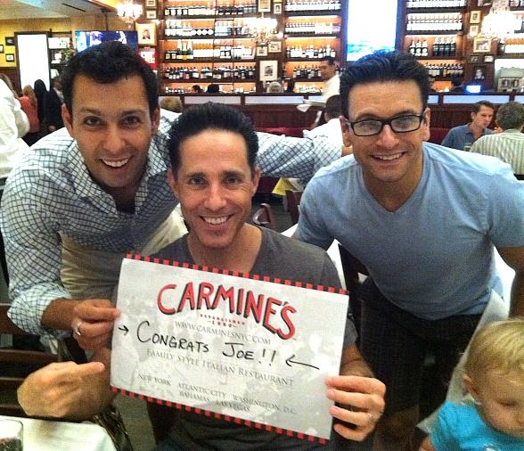 Buck Hujabre, Jeff Leibow and Aaron DeJesus of Jersey Boys Las Vegas at Carmine's Las Vegas