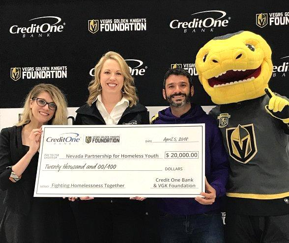 Credit One Bank and Vegas Golden Knights Foundation Donate $20,000 to Nevada Partnership for Homeless Youth