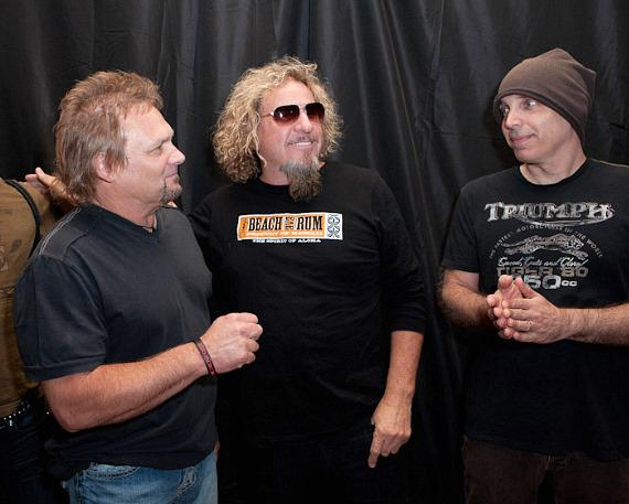 Michael Anthony, Sammy Hagar and Joe Satriani before the unveiling