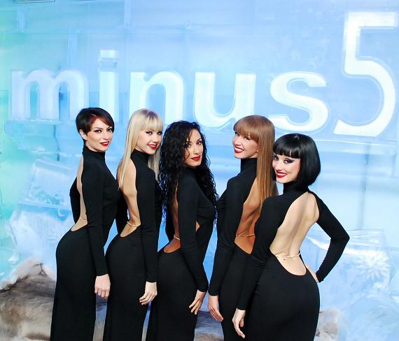 The Crazy Horse Paris ladies at Minus 5 Ice Bar in Monte Carlo Resort