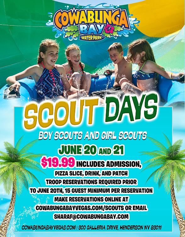 """Girl Scouts to """"drop"""" 667,000 Cookies at Cowabunga Bay on Feb. 8 with """"Scout Days"""" on June 20-21"""