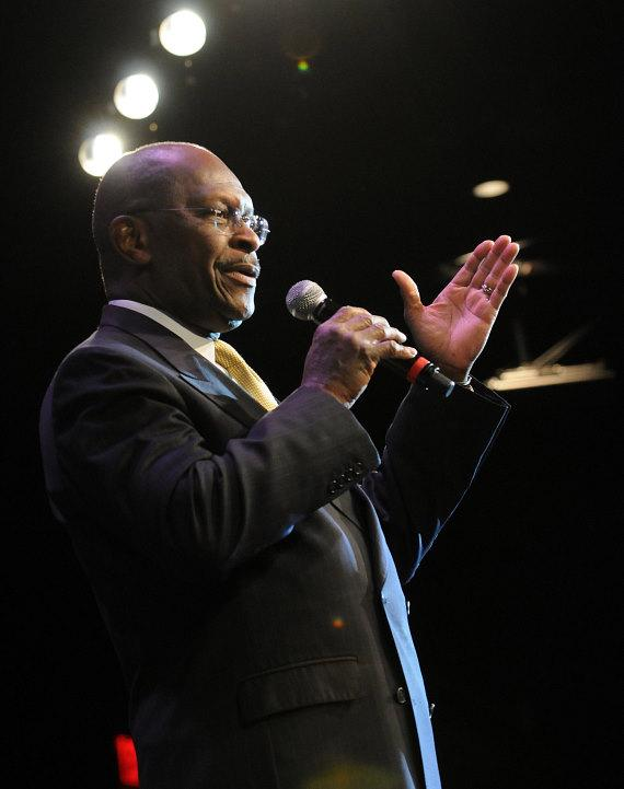 Republican Presidential Candidate Herman Cain speaks at the Western Republican Leadership Conference at The Venetian Hotel