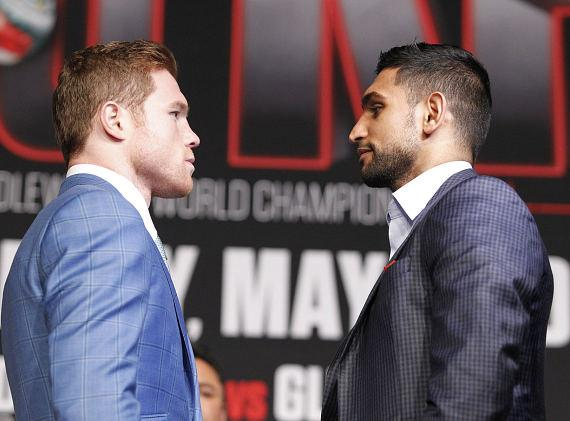 """Canelo Alvarez (46-1-1, 32 KOs) and British top fighter and former two-time world champion Amir """"King"""" Khan (31-3, 19 KOs) met today for one final press conference"""
