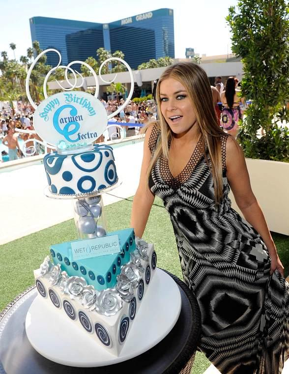 Carmen Electra at WET REPUBLIC with Birthday Cake