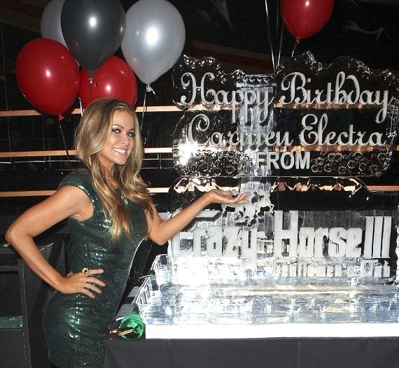 Carmen Electra heats up birthday ice sculpture at Crazy Horse III