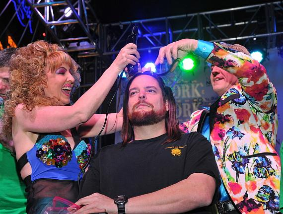 Cast members from Zumanity shaved two crew members' heads at St. Baldrick's at New York-New York Hotel & Casino 2018
