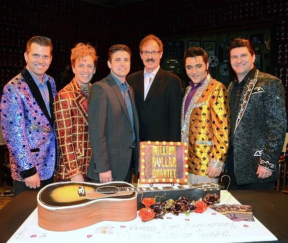 Cast of Million Dollar Quartet Las Vegas with Caesars Entertainment Executive Damian Costa and Ted Rawlins