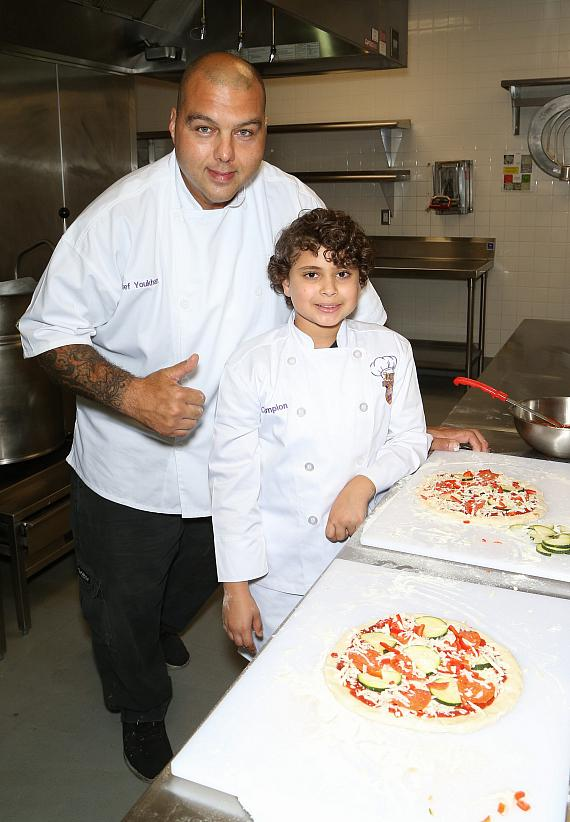 Chef Joe and Omar's finished pizzas
