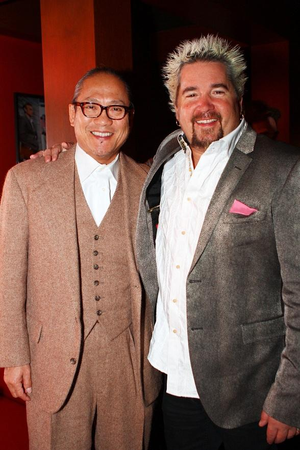 Chef Masaharu Morimoto and Chef Guy Fieri at Gordon Ramsay Pub and Grill at Caesars Palace on its opening night, Tuesday, Dec. 18