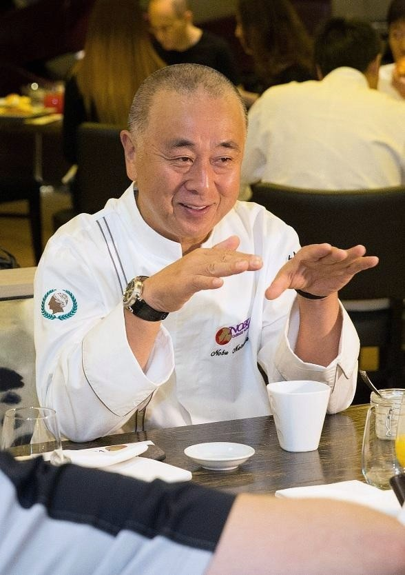 Chef Nobu Matsuhisa enjoys breakfast and prepares for Nobu United with his executive chefs at Nobu Restaurant and Lounge Caesars Palace