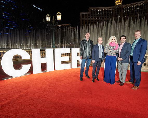 Cher with MGM Resorts International and AEG Presents executives at Fountains Show Debut at Bellagio