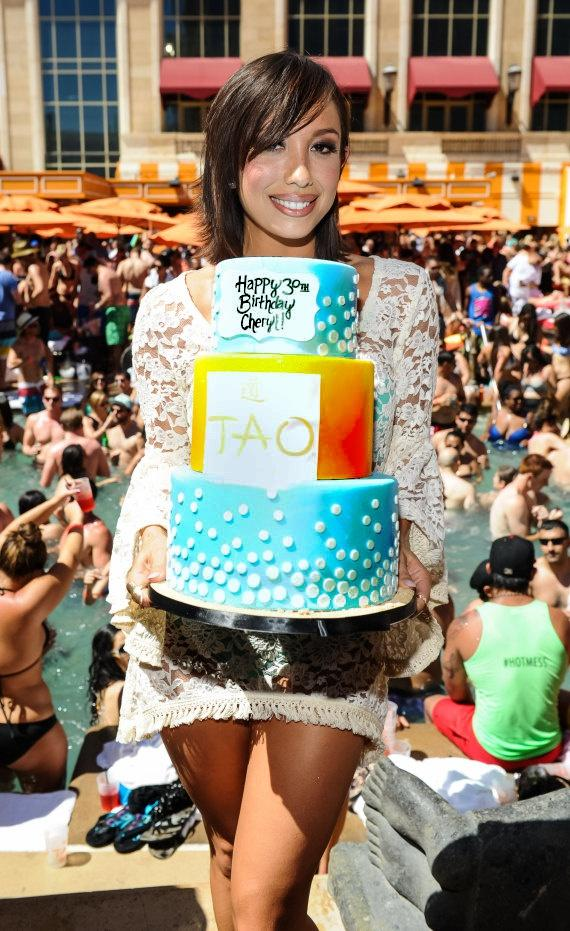 Cheryl Burke with TAO Beach Birthday Cake