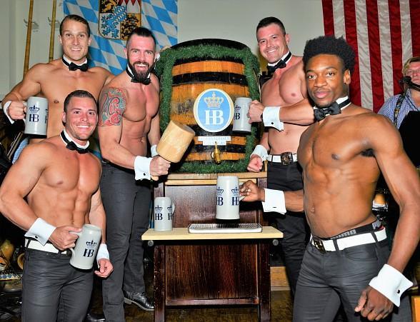 Celebrity Keg Tappers Chippendales and Murray Sawchuck Tap Kegs at Hofbräuhaus Las Vegas
