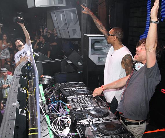 Chris Brown and Benny Benassi at Marquee Nightclub in Las Vegas
