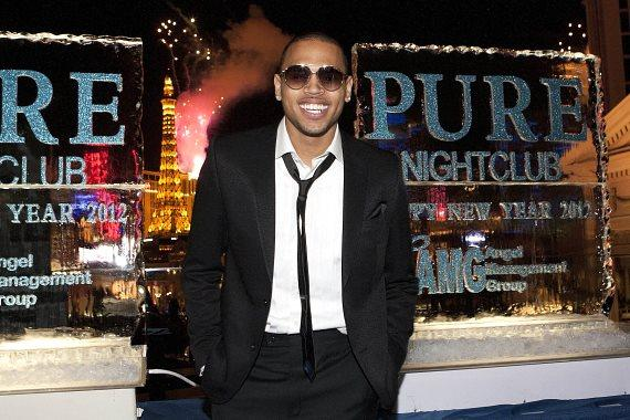 Chris Brown watches Fireworks at PURE Nightclub
