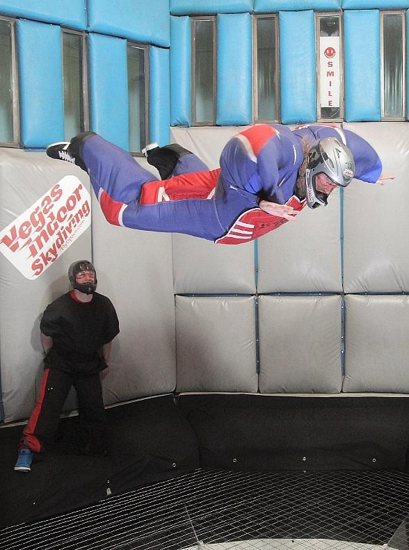 Chris Kael of Five Finger Death Punch goes flying at Vegas Indoor Skydiving
