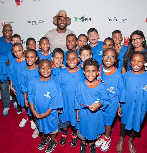Chris Paul with kids from the Jump For Joy Foundation